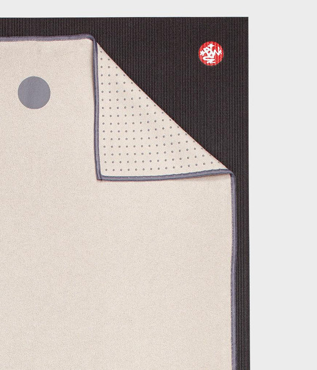 Manduka Yogitoes Mat Towel - Rainy Day - lying flat, corner folded over | Eco Yoga Store