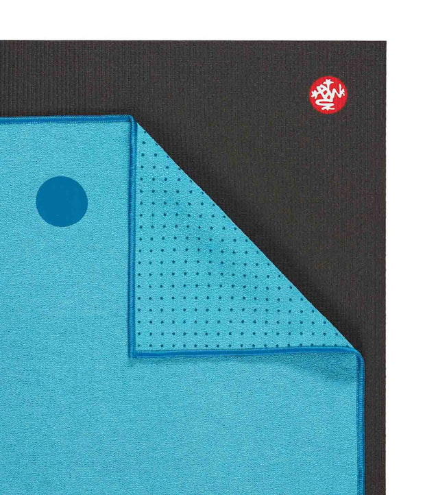 Manduka Yogitoes Mat Towel - Turquoise - lying flat, corner folded over | Eco Yoga Store