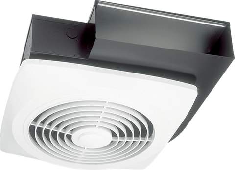 "Broan-Nutone 502 10"", Side Discharge Fan, White Square Plastic Grille, 270 CFM."