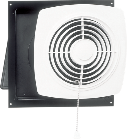 "Broan-Nutone 507 8"", Chain-Operated Wall Fan, White Square Plastic Grille, 250 CFM."