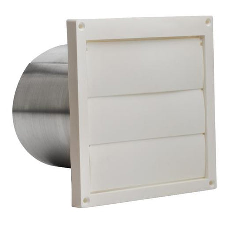 "Broan-Nutone 646 Wall Cap, White Plastic Louvered, 6"" Round Duct."