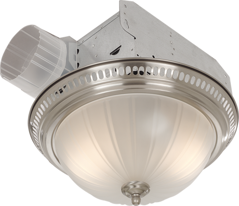 Broan-Nutone 741SN Decorative Fan/Light, Satin Nickel, Glass Globe, 70 CFM.