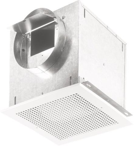 "Broan-Nutone L250MG Ventilator; 265 CFM Horizontal, 2.5 Sones; 262 CFM Vertical, 2.7 Sones. Metal grille. 8"" rd. duct connector. 120V."