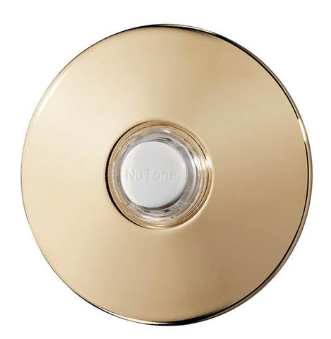 Broan-Nutone PB41BGL Door Chime Pushbutton, polished brass stucco — unlighted