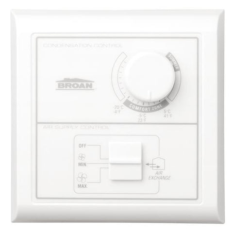 Broan-Nutone VT1W Central Control w/Dehumidistat,  Off-low-high rocker switch. Low Voltage.