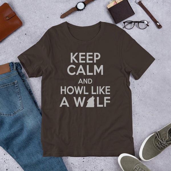 Keep Calm & Howl Like A Wolf Premium Short-Sleeve Unisex T-Shirt
