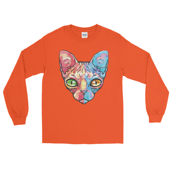 Multi Colour Sphynx Cat Long Sleeve T-Shirt - Dynamic Clothing Box