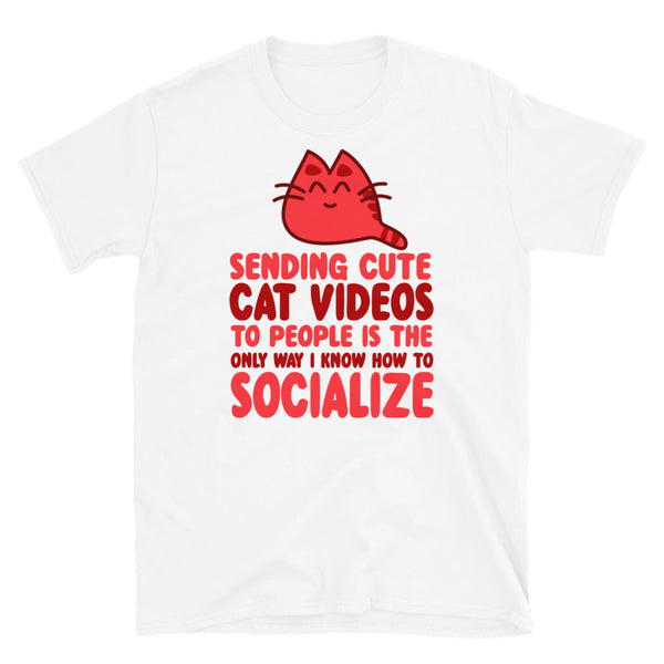 Sending Cute Cat Videos Short-Sleeve Unisex T-Shirt - Dynamic Clothing Box