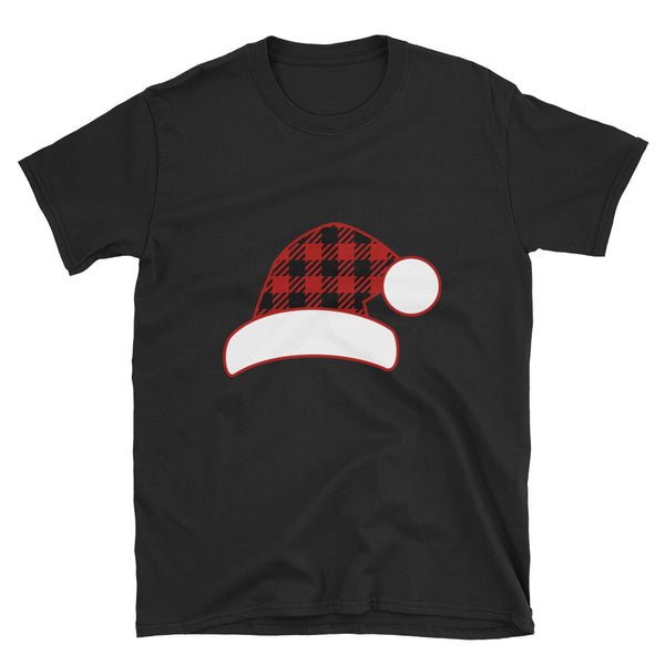 Plaid Christmas Santa Hat Short-Sleeve Unisex T-Shirt - Dynamic Clothing Box