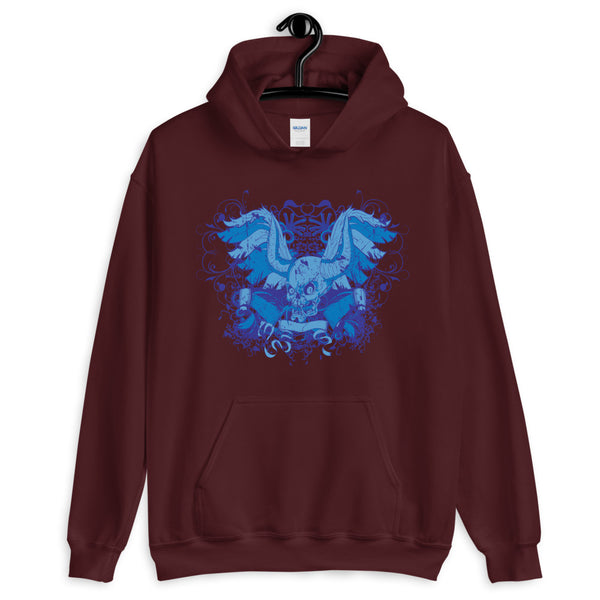 Blue Skull With Horns Unisex Hoodie - Dynamic Clothing Box