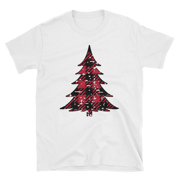 Plaid Tree Distressed Short-Sleeve Unisex T-Shirt - Dynamic Clothing Box