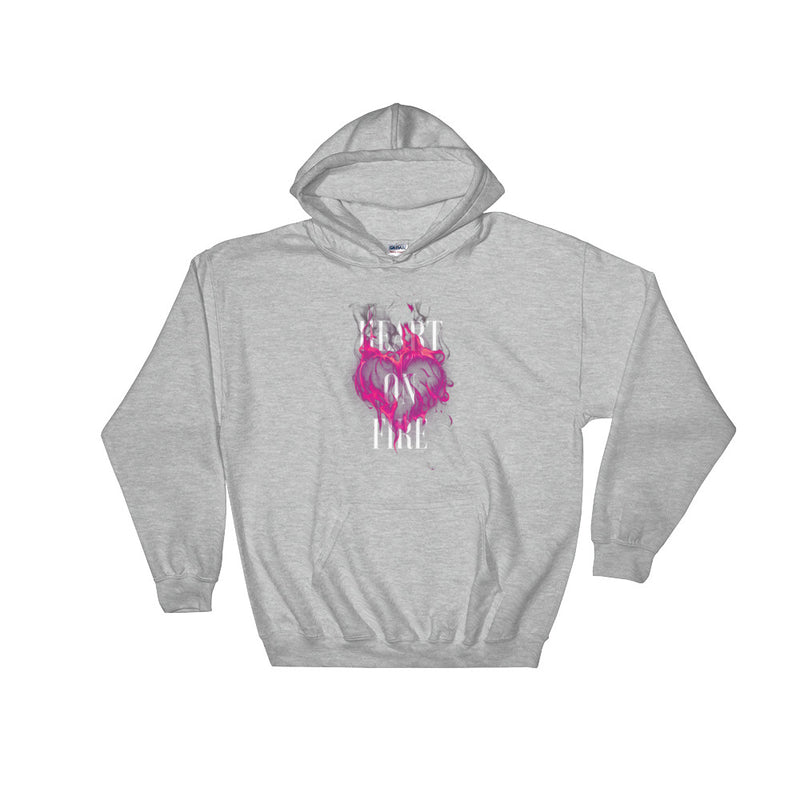 Heart On Fire Unisex Hooded Sweatshirt - Dynamic Clothing Box