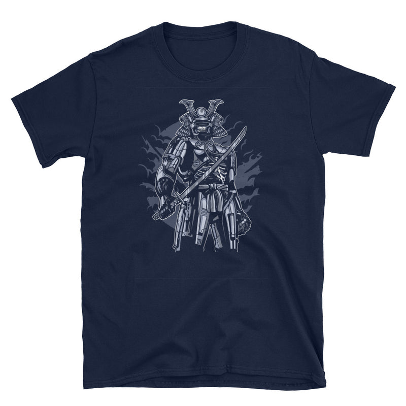 Samurai Robot Skull Short-Sleeve Unisex T-Shirt - Dynamic Clothing Box