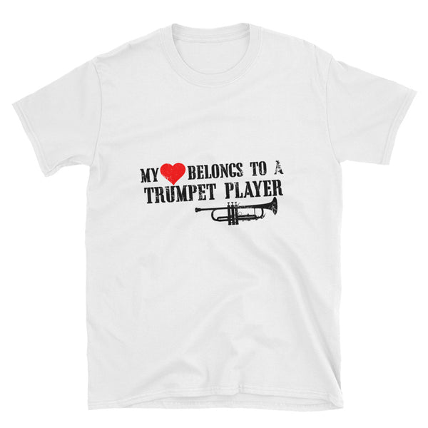 My Heart Belongs To A Trumpet Player Short-Sleeve Unisex T-Shirt - Dynamic Clothing Box