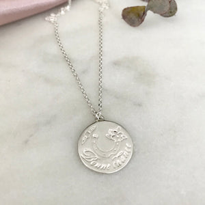 Silver Bonne Chance Necklace by Pearl & Queenie