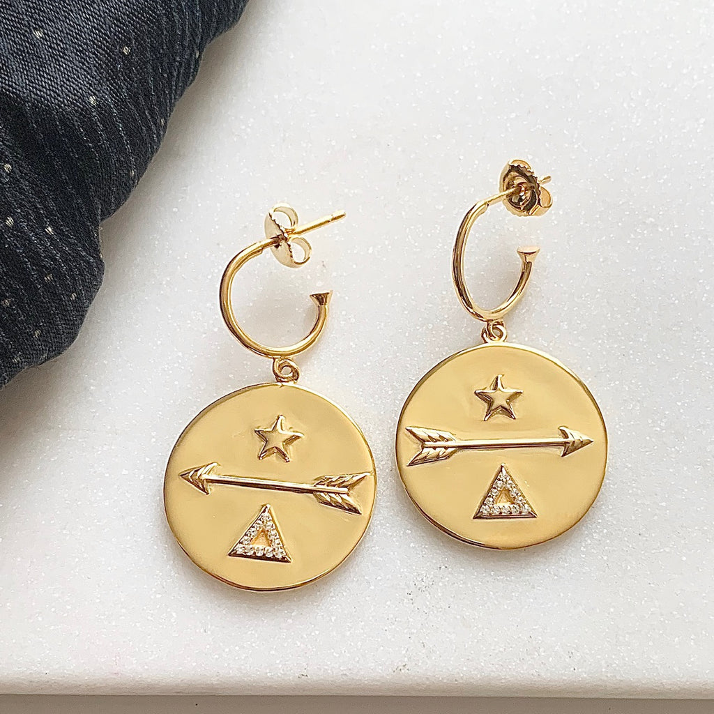 Destiny Hoop Earrings by Pearl & Queenie