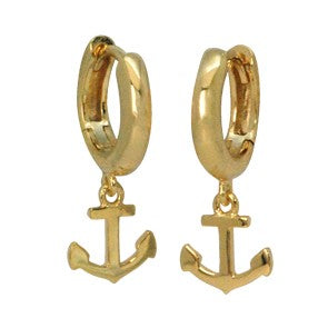 Anchor Huggie Earrings by Pearl & Queenie