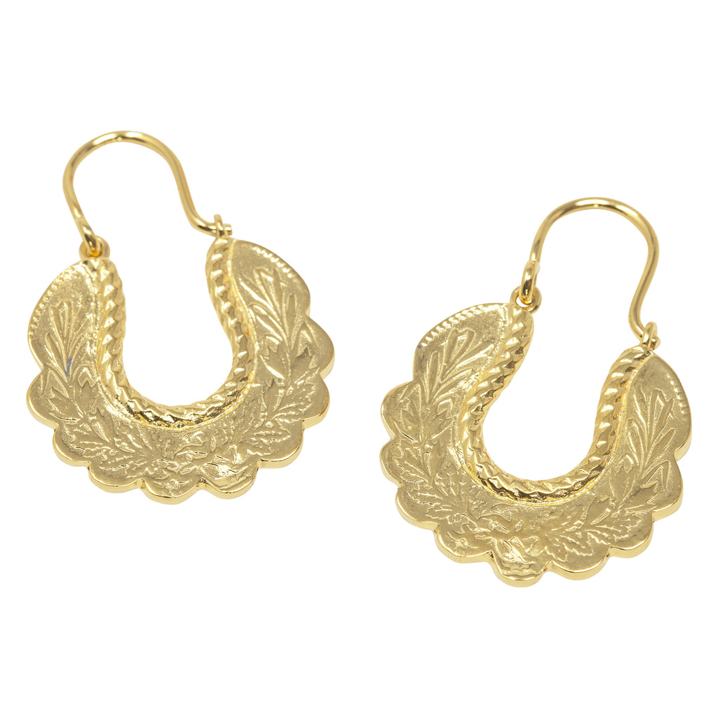 Gold Babooska Earrings by Pearl & Queenie