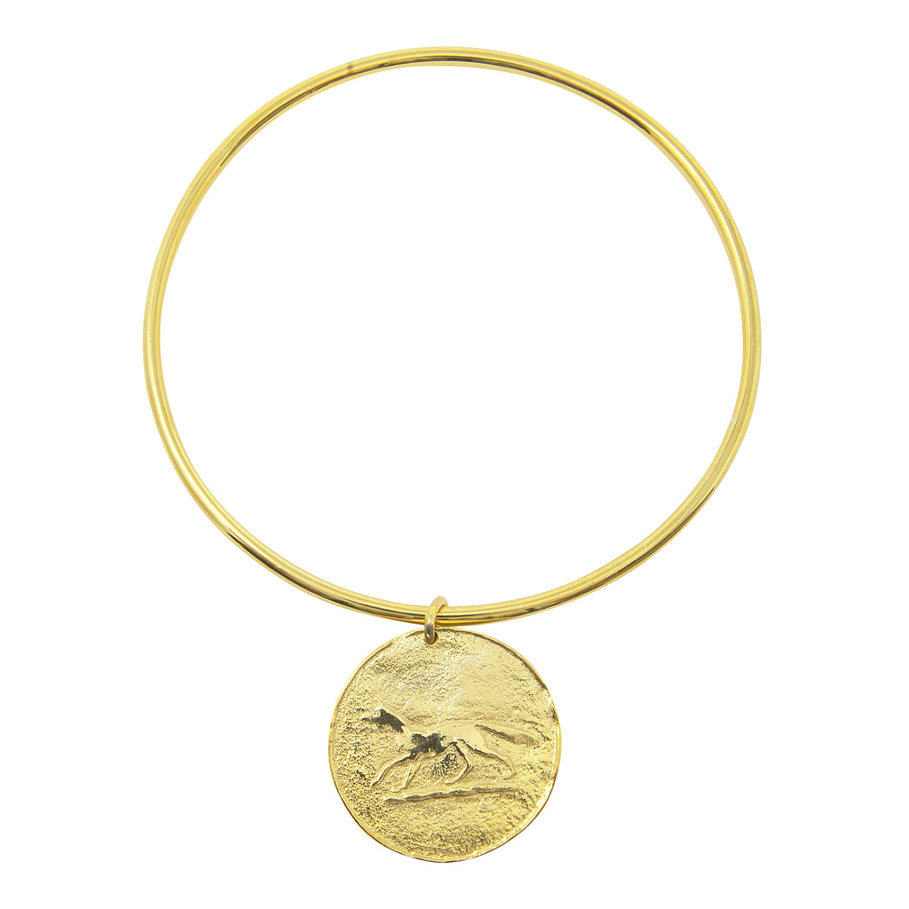 Gold Coin Fox Bangle by Pearl & Queenie