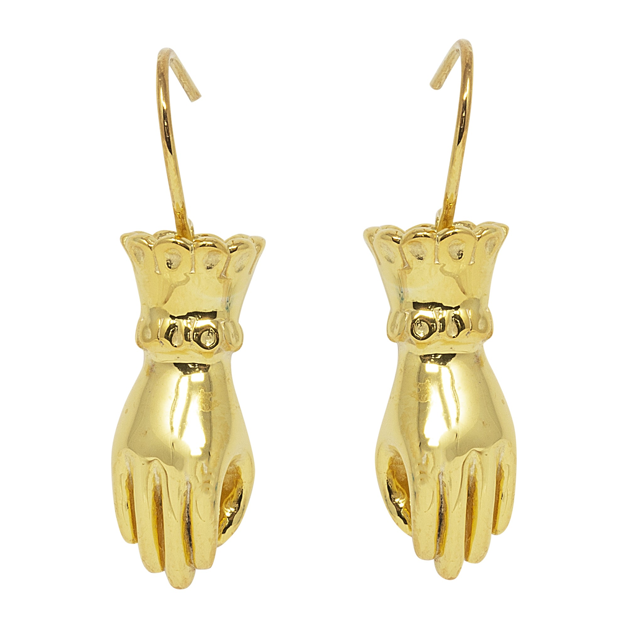 Silver Fortune Teller Hand Earrings by Pearl & Queenie