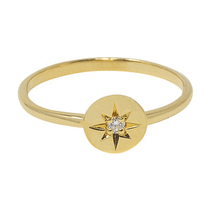 Gold Travelling Star Diamond Ring by Pearl & Queenie