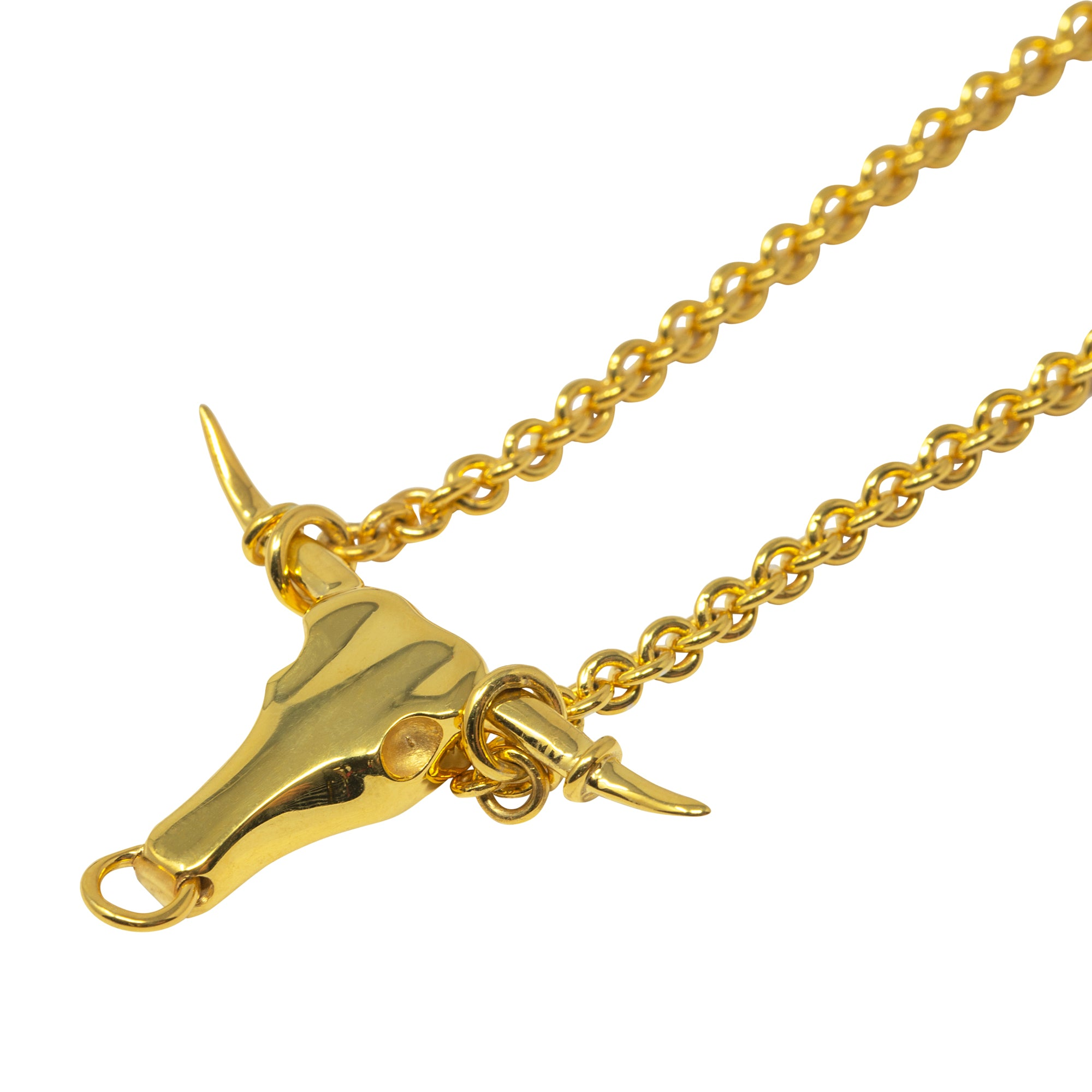 Gold Longhorn Necklace by Pearl & Queenie
