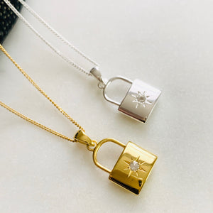 Guiding Star Love Lock Pendant by Pearl & Queenie