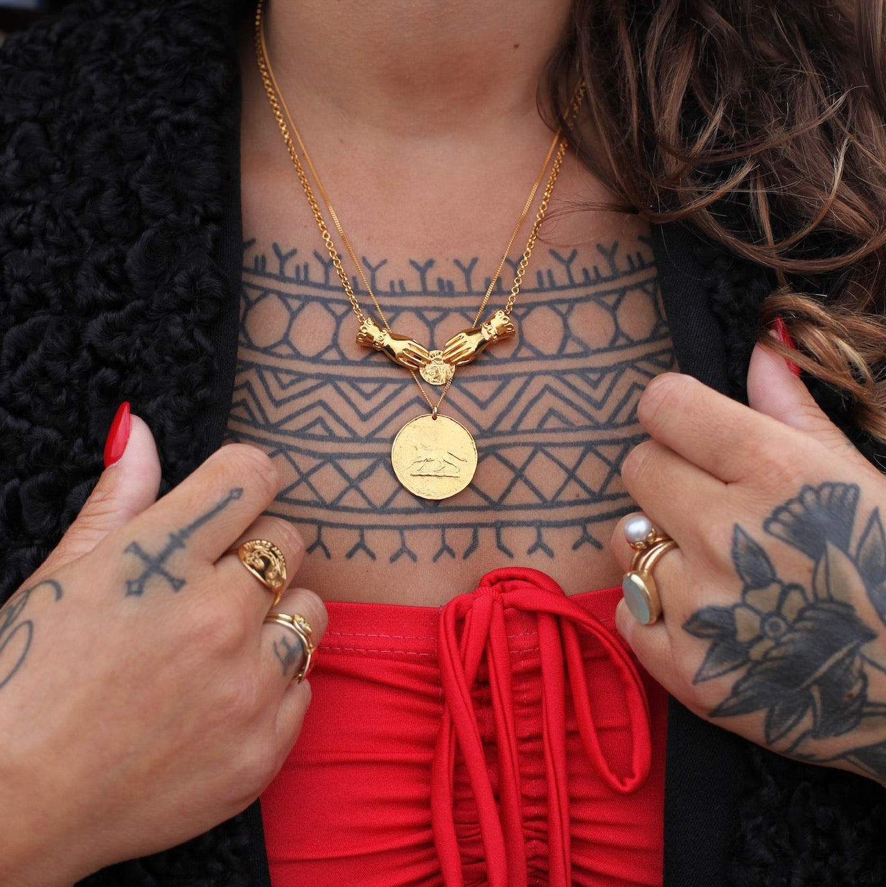 Gold Double Hand of Good Fortune Necklace