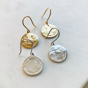 Gold Bonne Chance Earrings by Pearl & Queenie