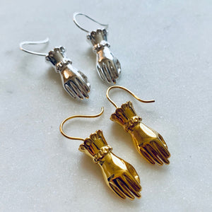 Gold Fortune Teller Hand Earrings by Pearl & Queenie