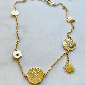 Gold Gypsy Charm Necklace by Pearl & Queenie