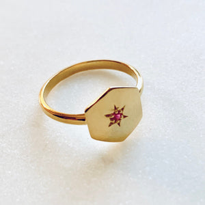 Hexagon Ruby Ring by Pearl & Queenie