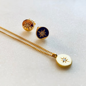 Gold Travelling Star Diamond Earring Studs by Pearl & Queenie