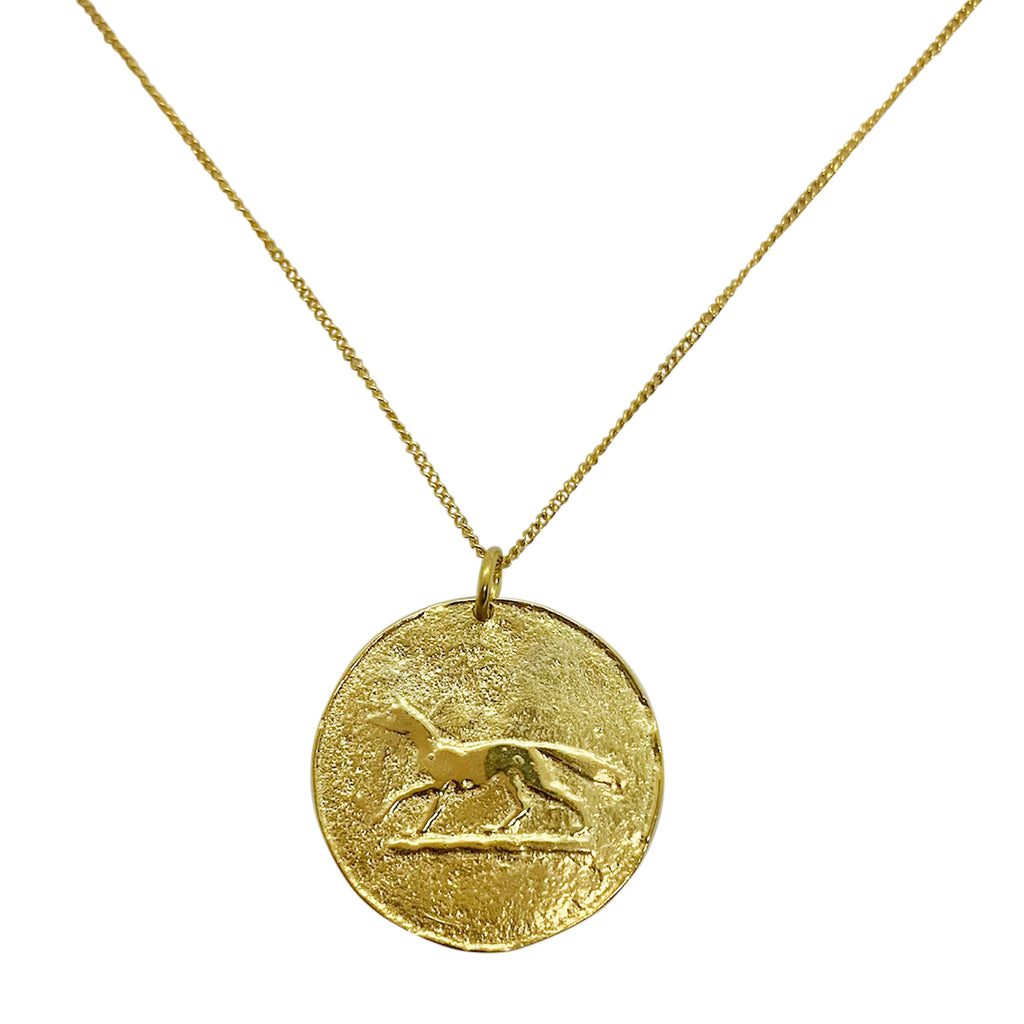 Gold Fox Coin Necklace by Pearl & Queenie