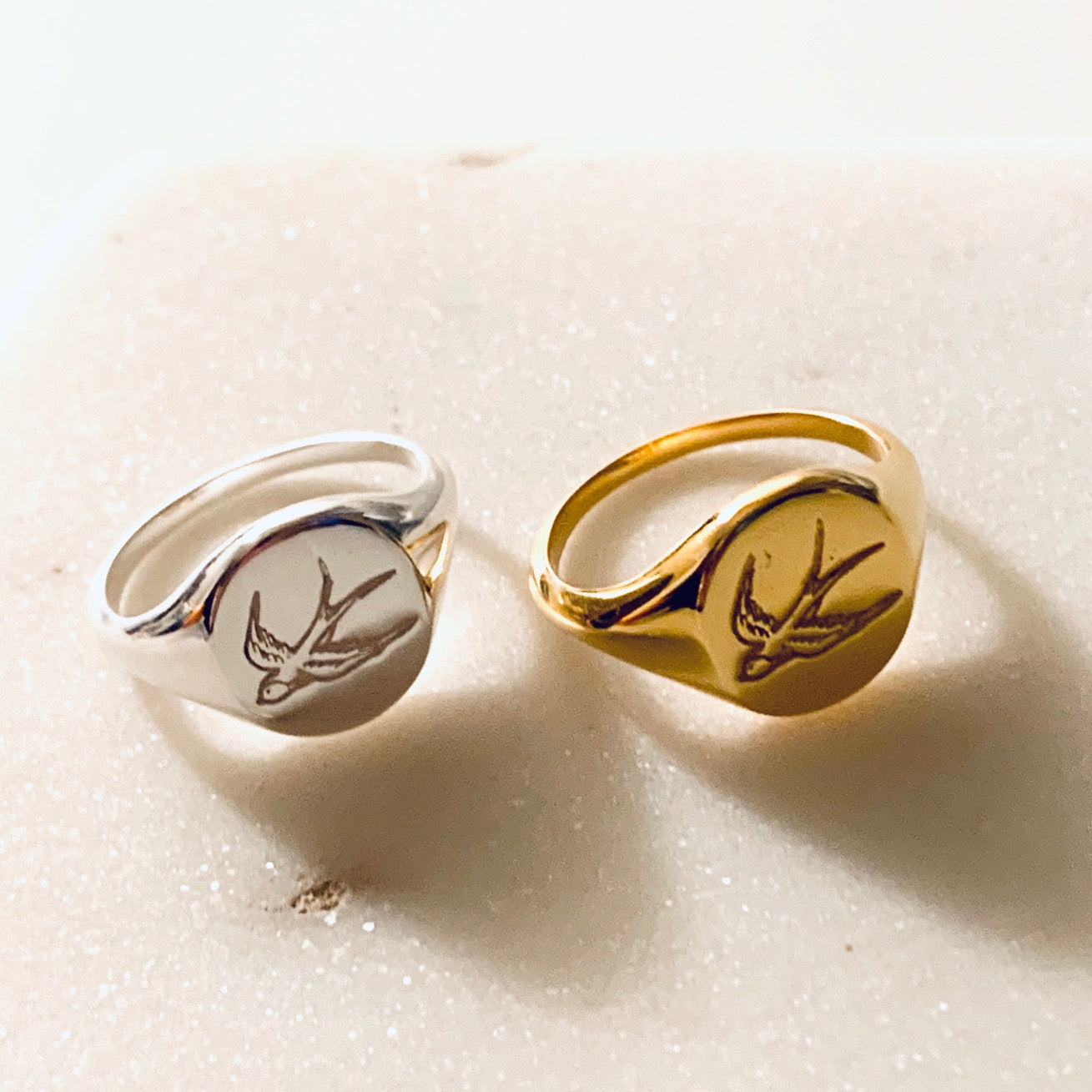 Swallow Signet Ring by Pearl & Queenie