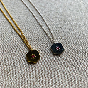 Ruby Hexagon Necklace by Pearl & Queenie