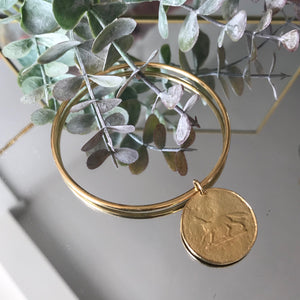 Silver Fox Coin Bangle by Pearl & Queenie