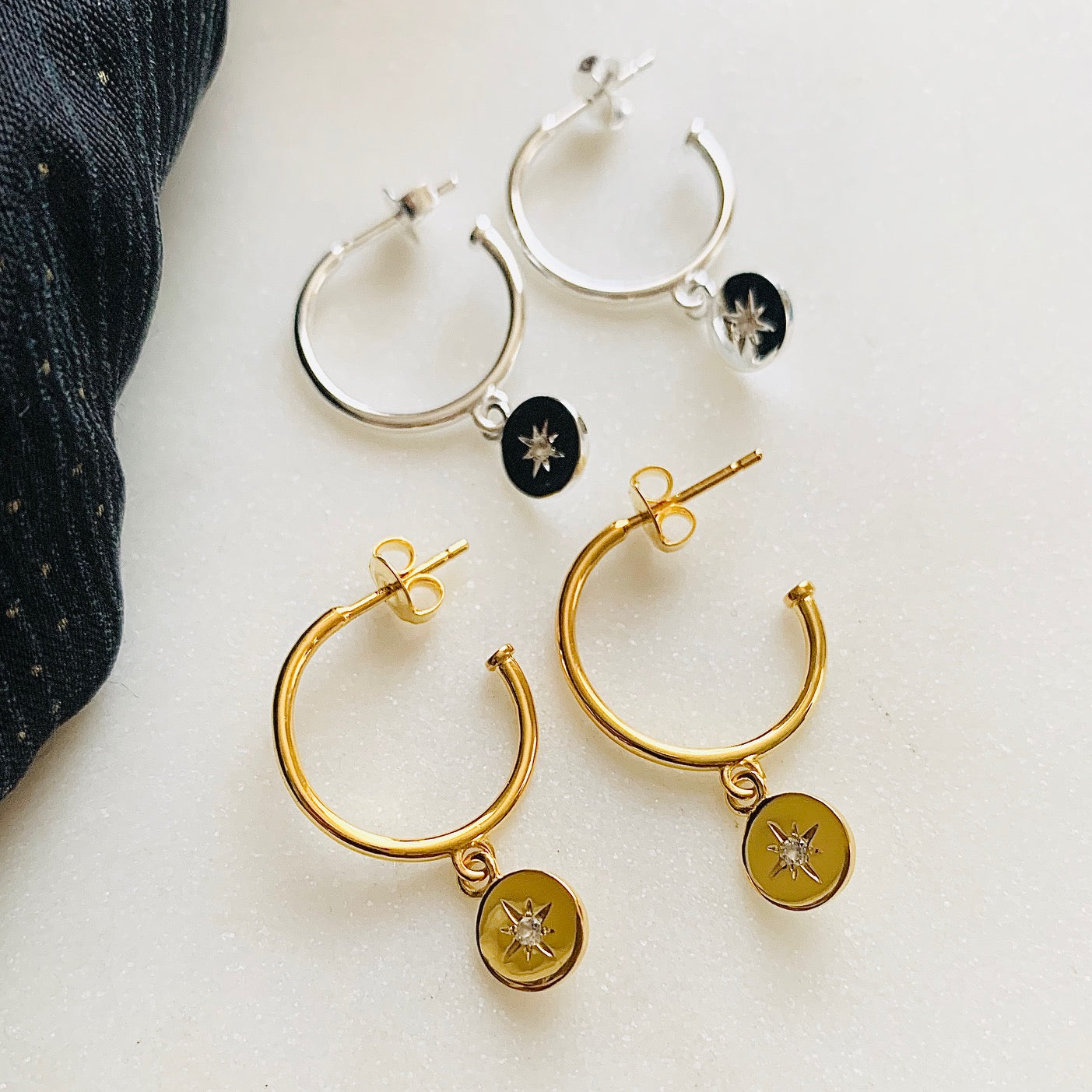 Travelling Star Hoop Earrings by Pearl & Queenie
