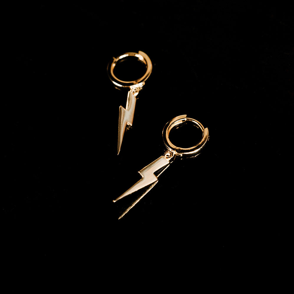 Lightning Bolt Huggie Earrings by Pearl & Queenie