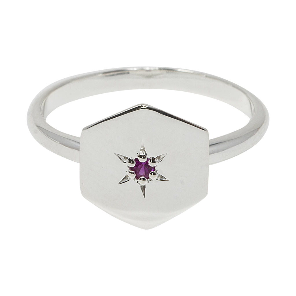Silver Hexagon Ruby Ring by Pearl & Queenie