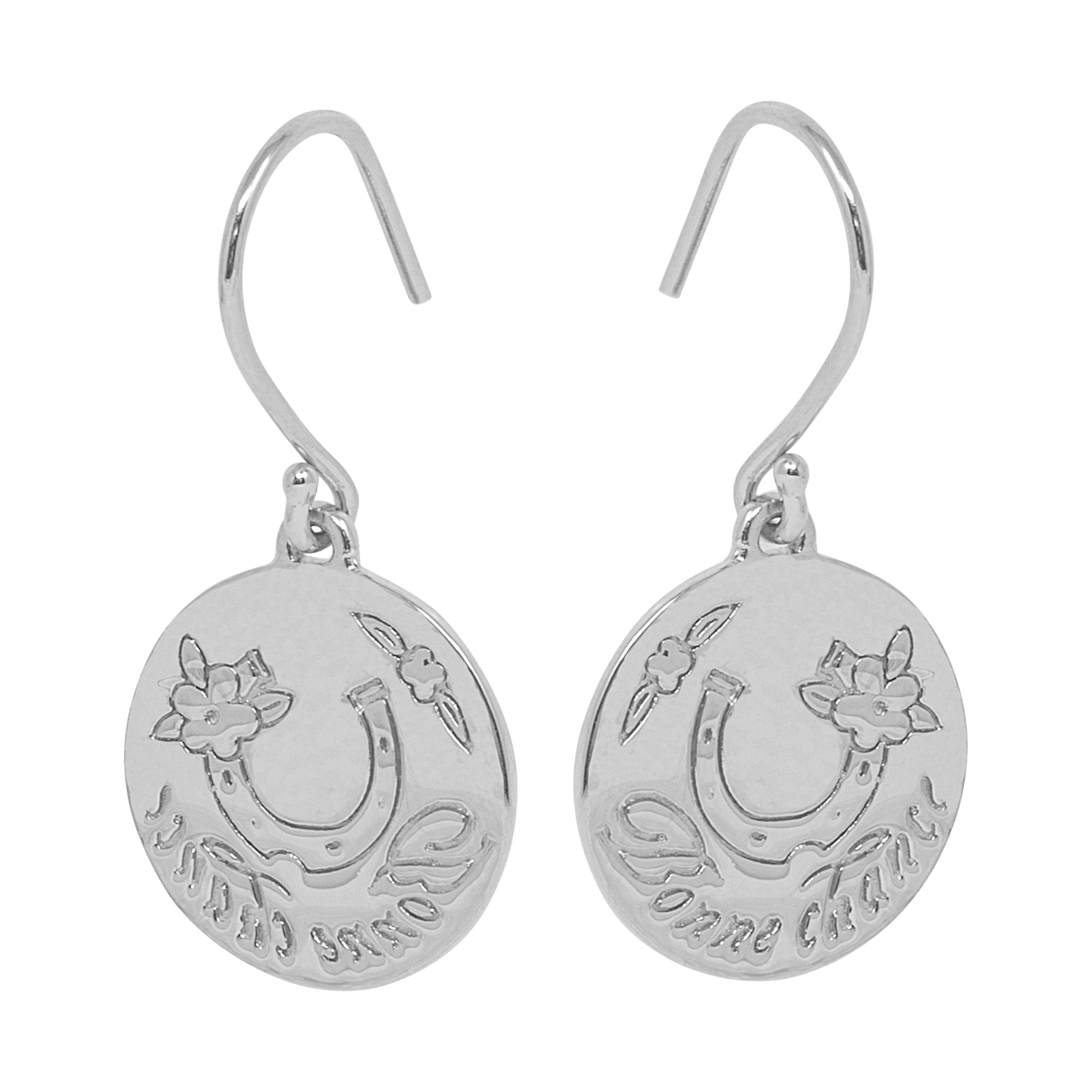 Silver Bonne Chance Earrings by Pearl & Queenie