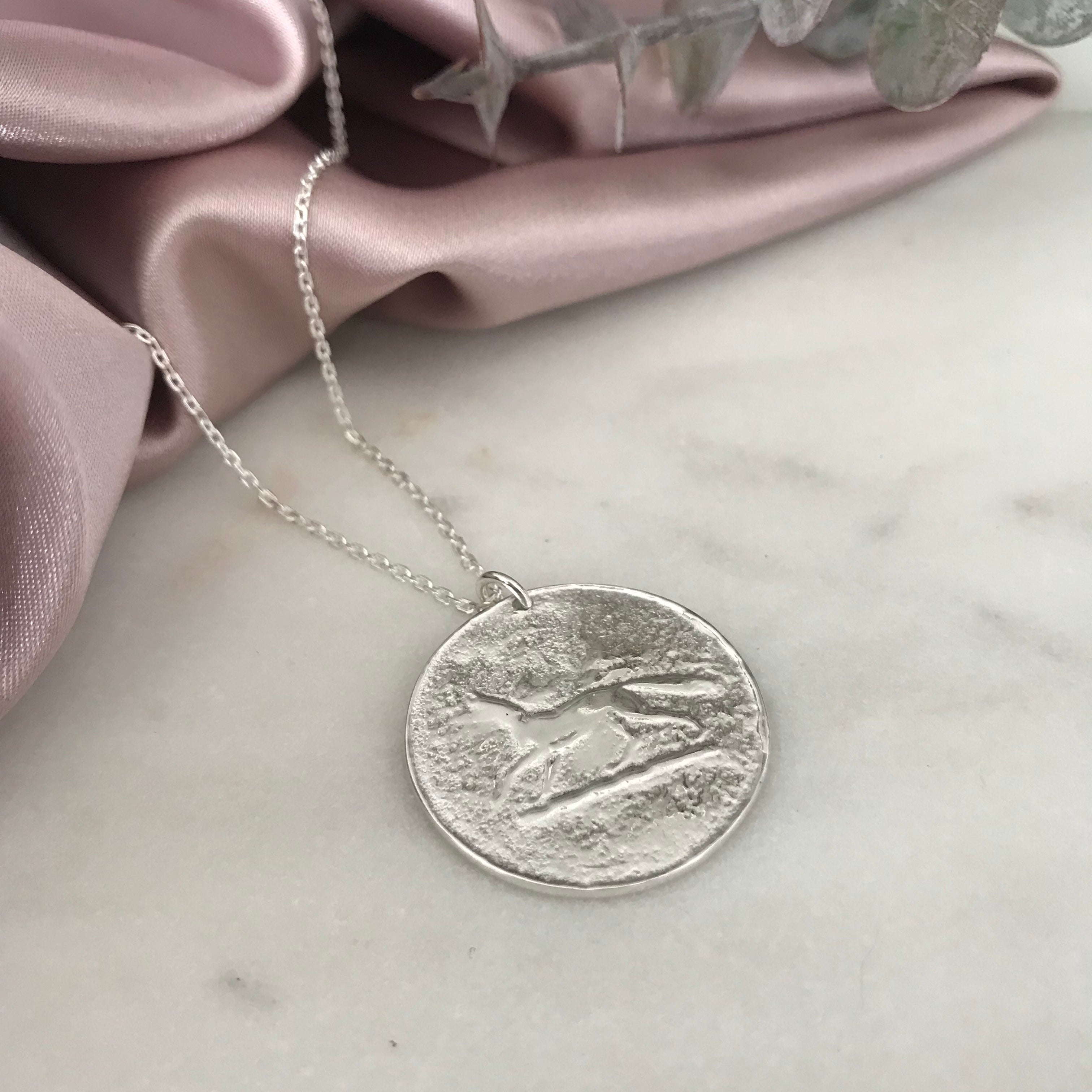 Silver Fox Coin Necklace by Pearl & Queenie