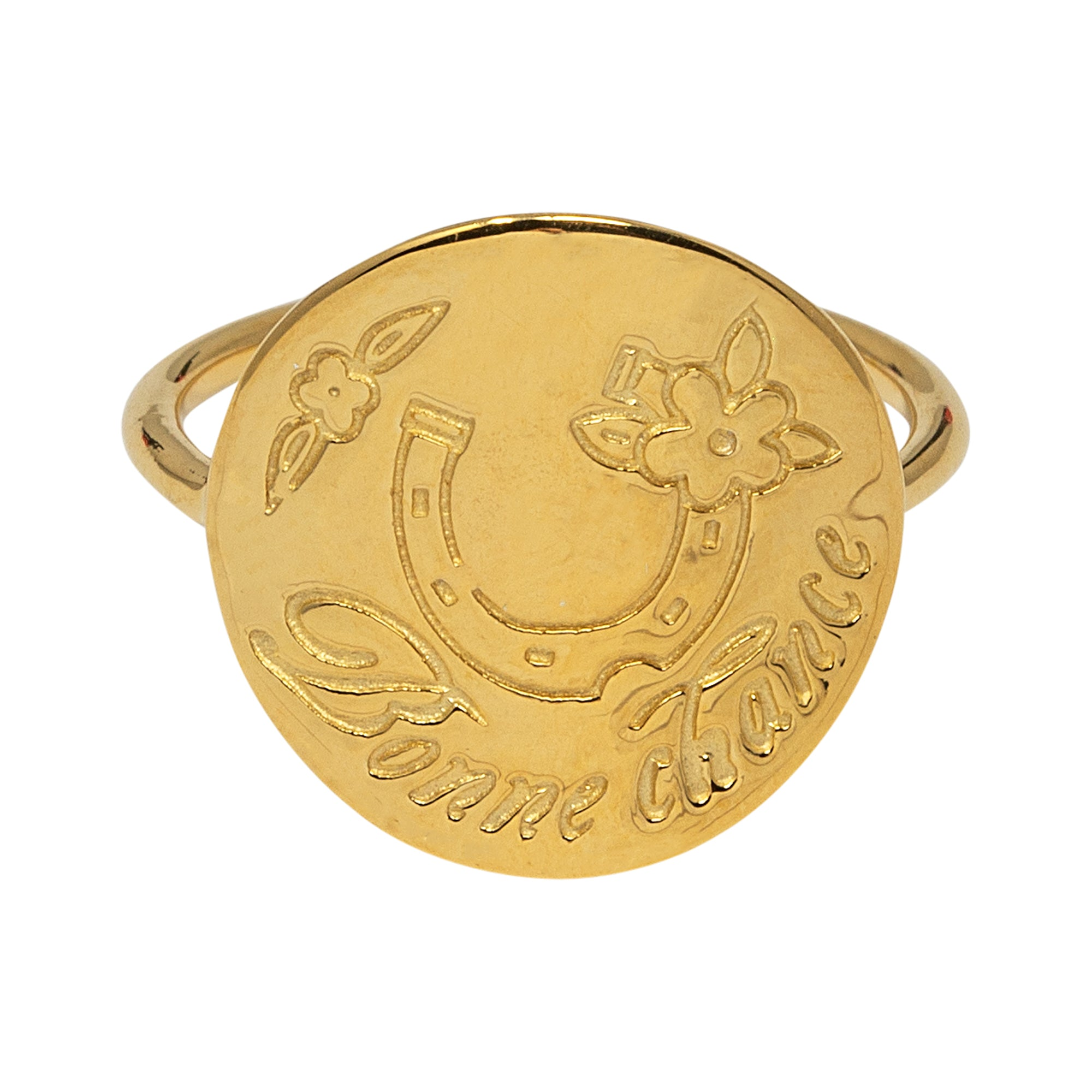 Gold Bonne Chance Ring by Pearl & Queenie