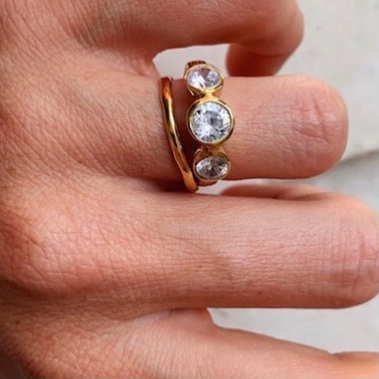Nadine Ring - 3 stone Clear Crystal