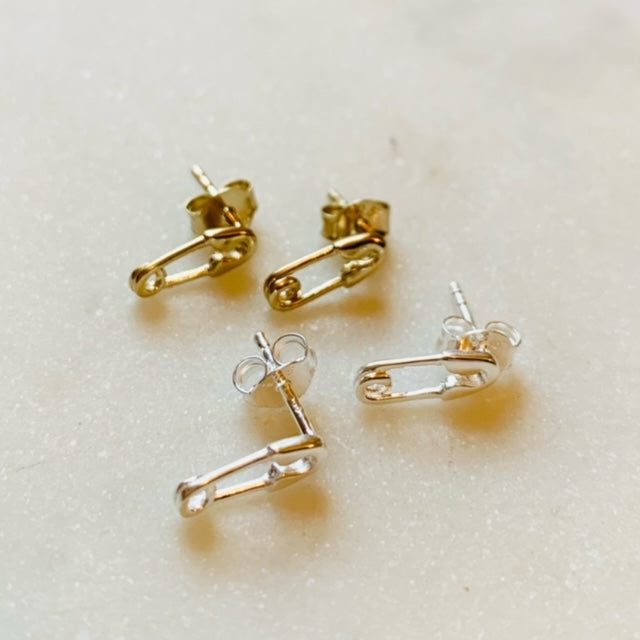 Tiny Safety Pin Stud Earrings