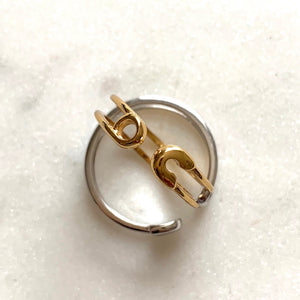 Safety Pin Ring by Pearl & Queenie