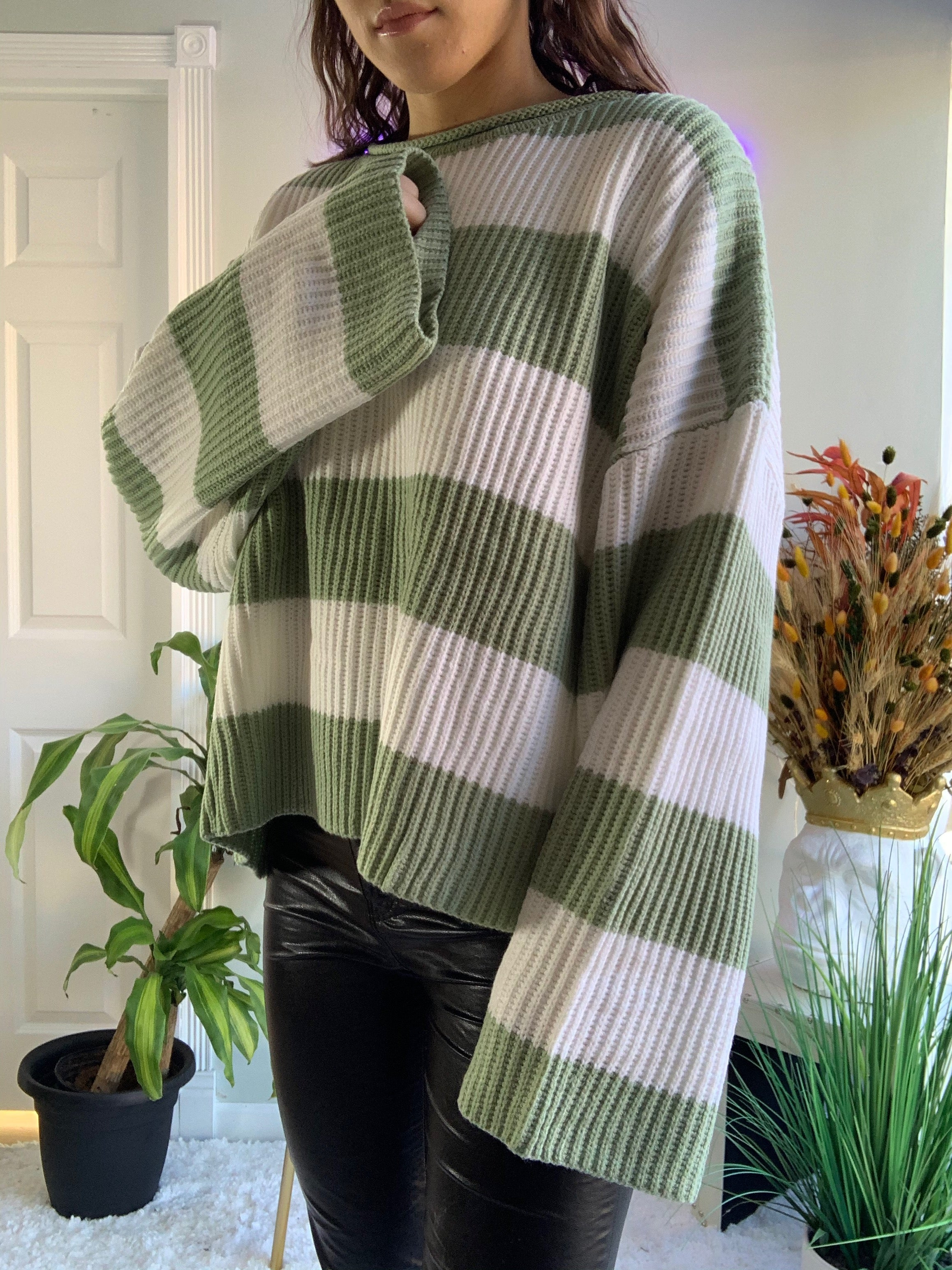 Guac Stripe Sweater