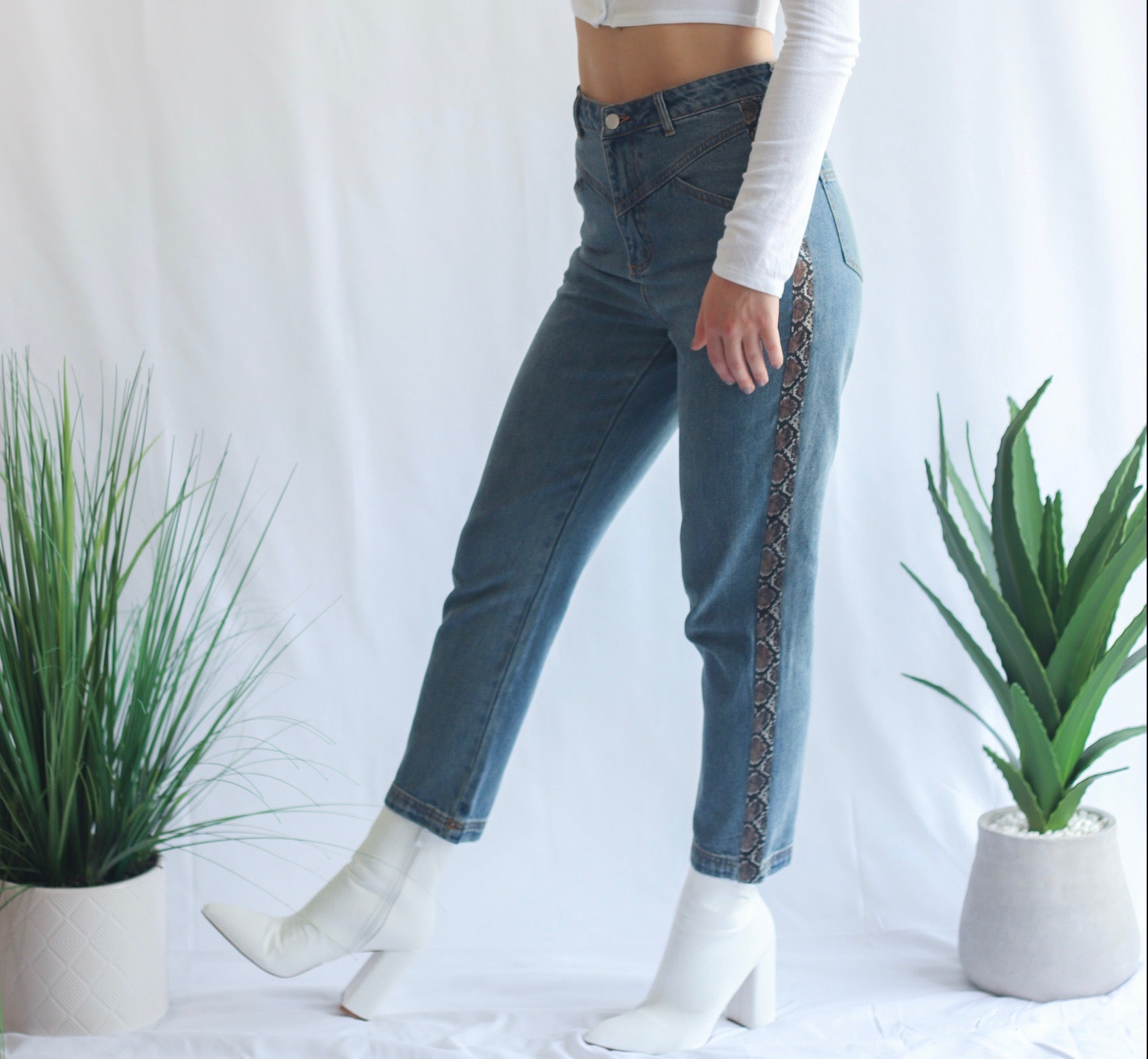 Snakin Me Crazy Ankle Jeans
