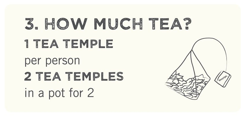 how much tea? 1 tea temple per person, or 2 in a teapot to serve 2