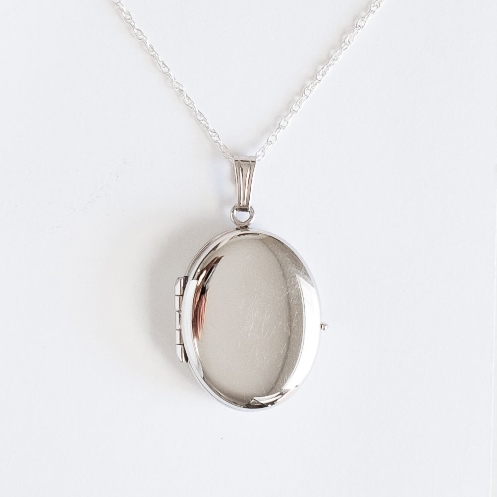Sterling Silver Oval Locket, 4 Photo